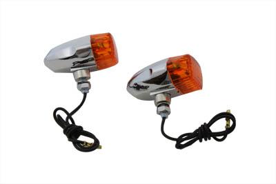 Chrome Snake Eye Marker Lamp Set Amber