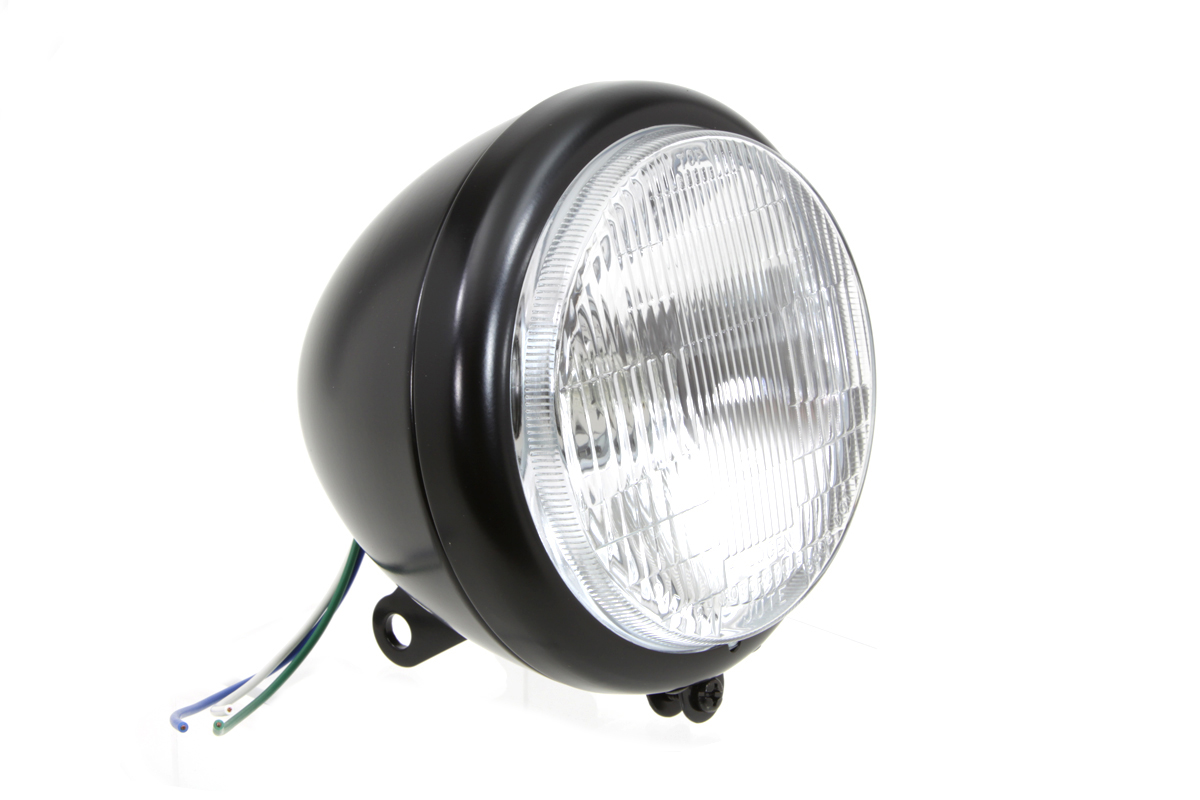 "Black 5-3/4"" Round Headlamp Assembly Tear Drop Style"