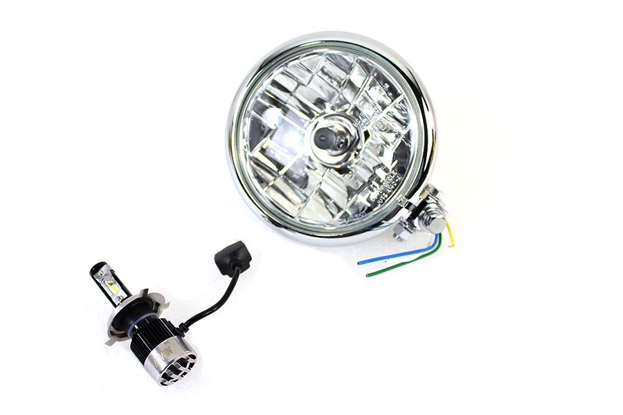 "5-3/4"" Bates Style 12 Volt LED Headlamp Chrome"