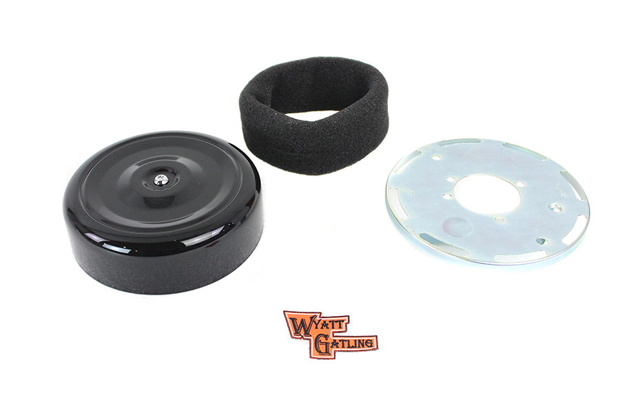 """Wyatt Gatling 7"""" Round Air Cleaner Kit with Black Cover"""
