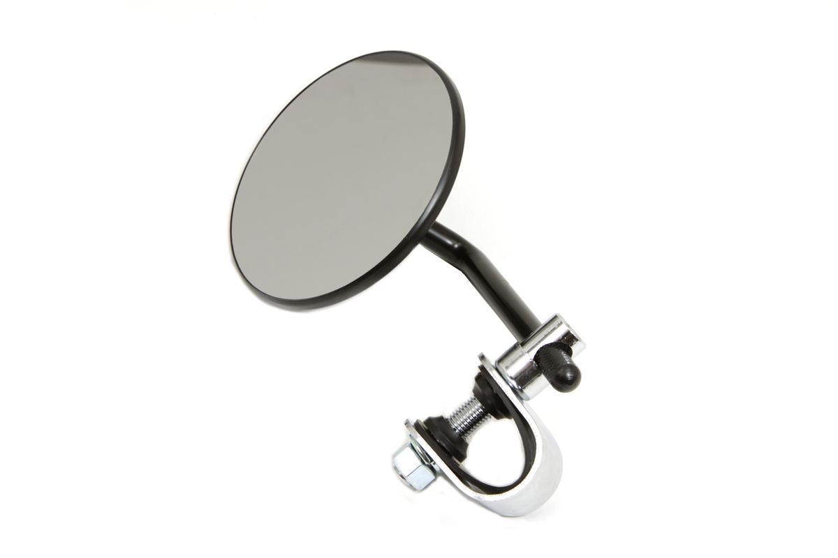 "4"" Round Mirror with Clamp Black Steel"
