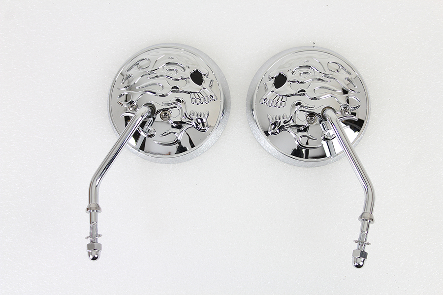Round Skull and Flame Mirror Set with One Piece Stems Chrome