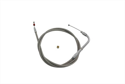 "Braided Stainless Steel Throttle Cable with 39"" Casing"