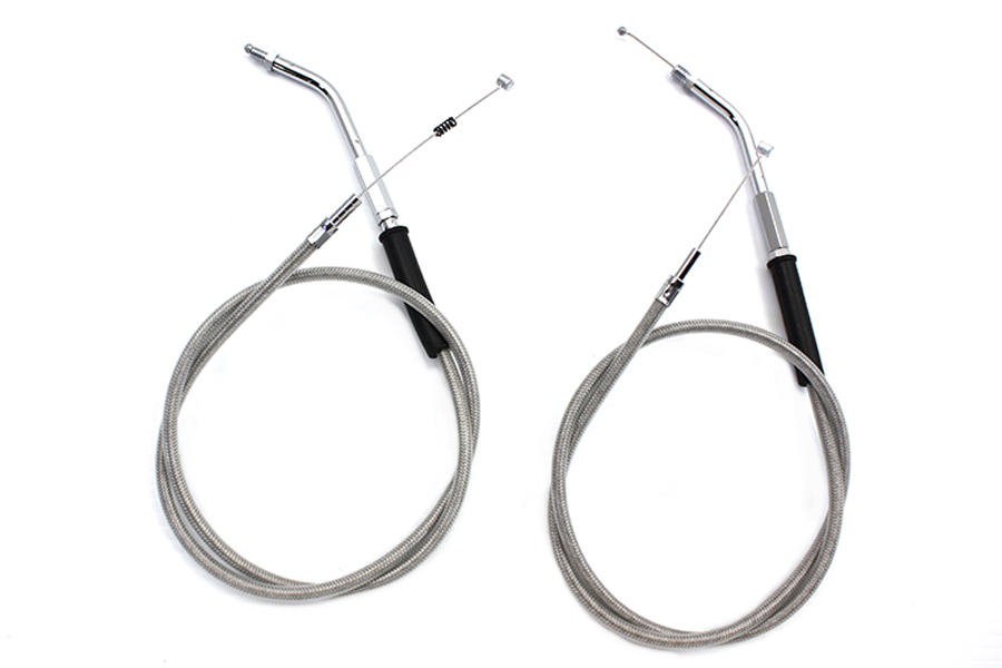 "Stainless Steel Throttle and Idle Cable Set with 38.83"" Casing"