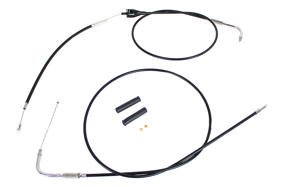 Stainless Steel Throttle and Idle Cable Set Black Coat +8""