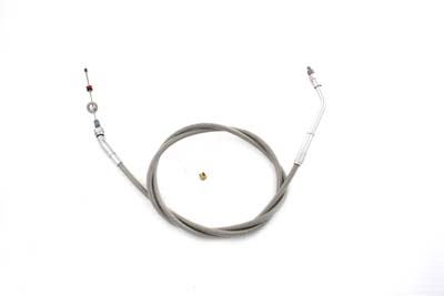 "Braided Stainless Steel Throttle Cable with 45.75"" Casing"