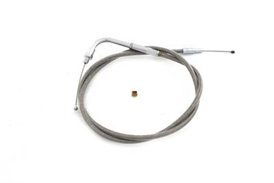 "Braided Stainless Steel Throttle Cable with 38.50"" Casing"