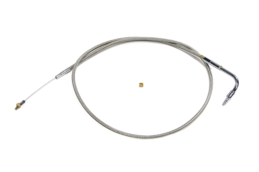 "Braided Stainless Steel Idle Cable with 38.125"" Casing"