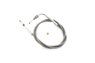 "Braided Stainless Steel Throttle Cable with 42"" Casing"