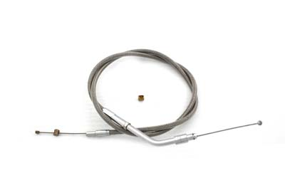 "Braided Stainless Steel Throttle Cable with 33.25"" Casing"
