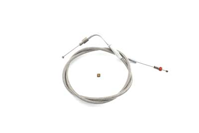 "Braided Stainless Steel Idle Cable with 34"" Casing"