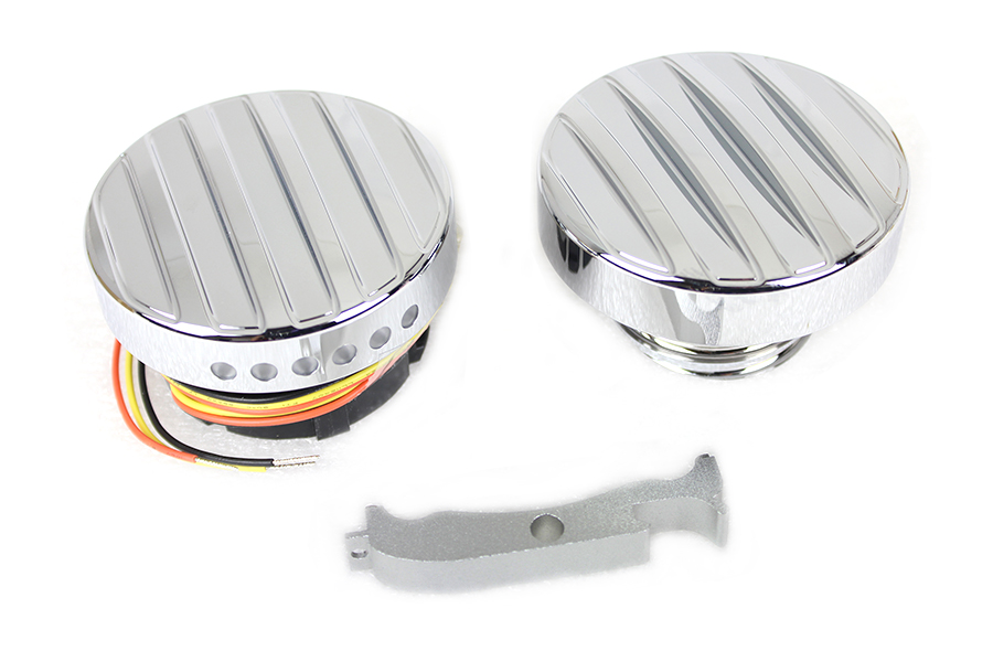 Chrome LED Ribbed Style Fuel Gauge and Screw Cap Set