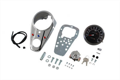 Chrome Three Light Dash Panel Kit with 1:1 Ratio Speedometer
