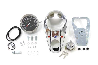 Chrome Three Light Dash Panel Kit with 2:1 Ratio Speedometer