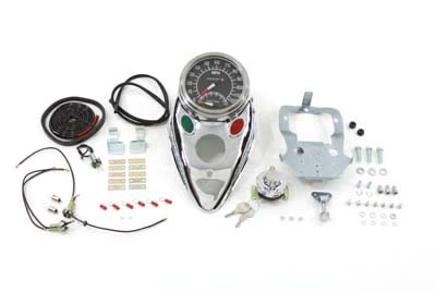 Chrome Cateye Dash Panel Kit with 1:1 Ratio Speedometer