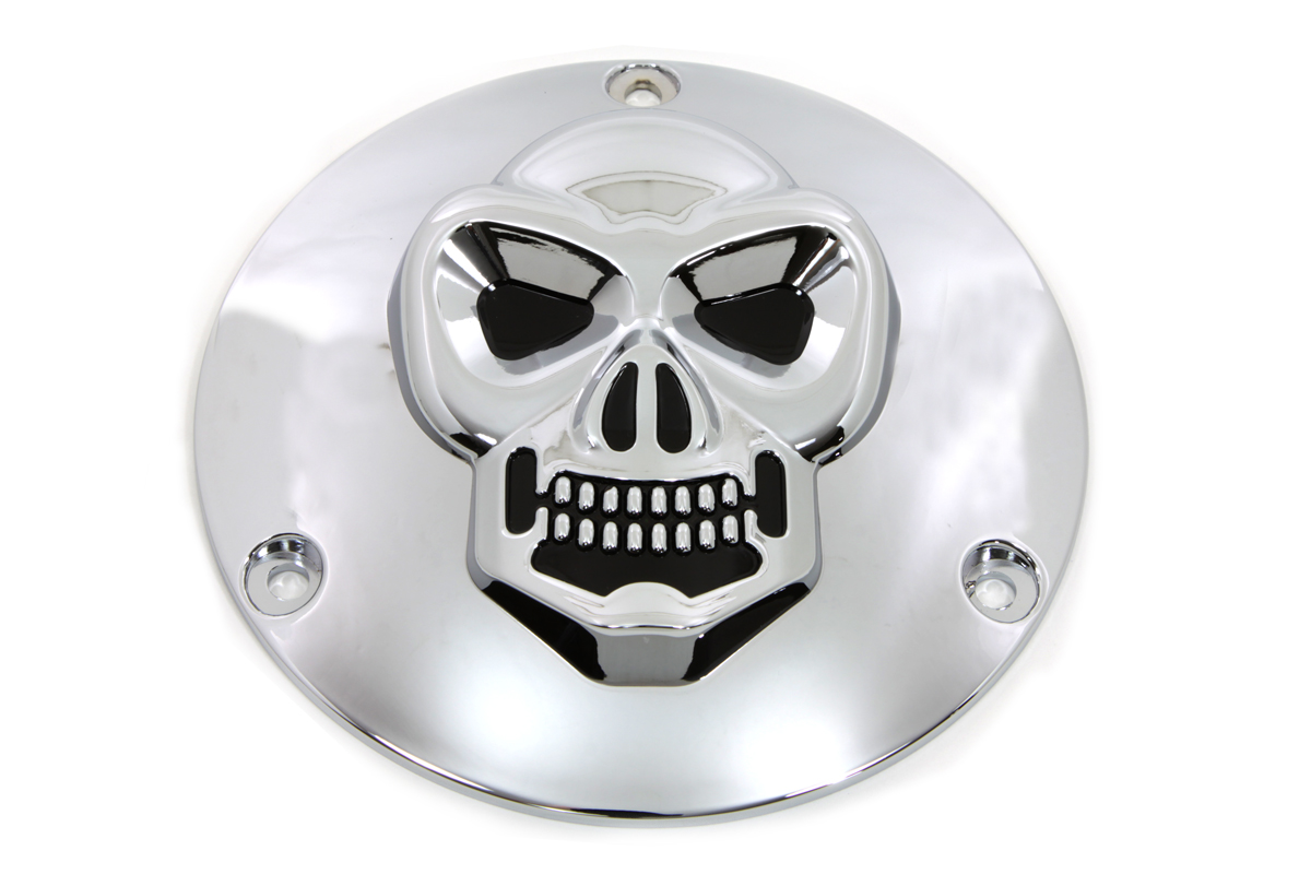 VTwin Chrome Skull Motorcycle Derby Cover 1970-1998 Harley Touring FXR FLT FXST