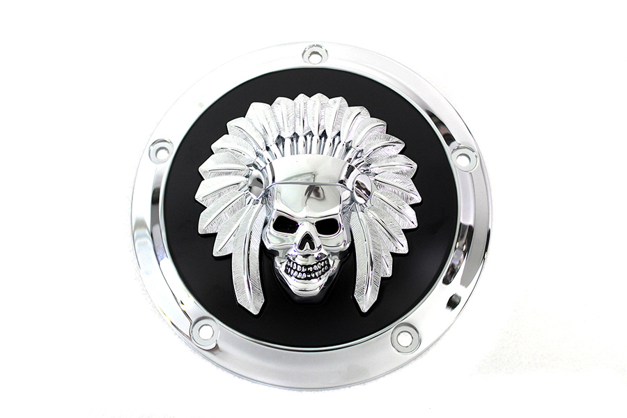 Indian Skull Derby Cover Black