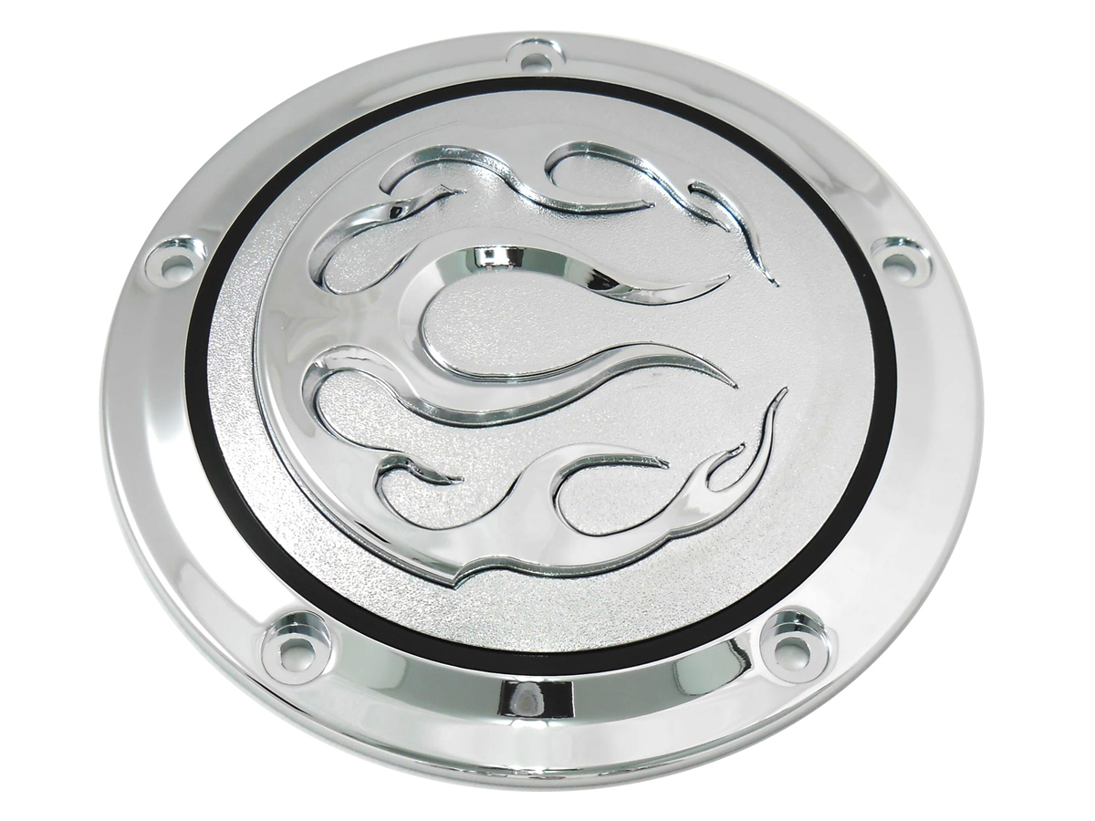 VTwin Flame 5 Hole Motorcycle Derby Cover 1999-2018 Harley Touring FLT FXST FLST