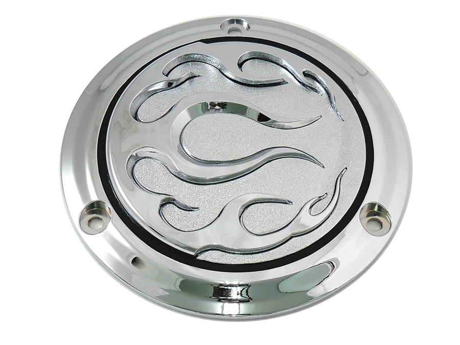 VTwin Flame 3 Hole Motorcycle Derby Cover 1970-1998 Harley Touring FLT FXR FX FL