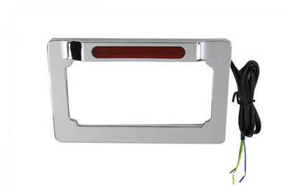 License Plate Frame Chrome Billet with LED Top Lamp