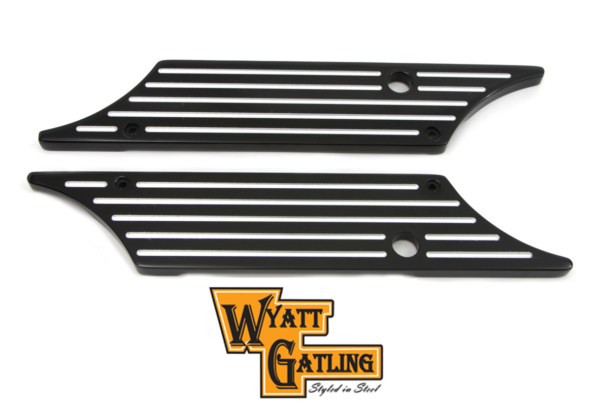 VTwin Black Ball Milled Rear Saddlebag Hinge Covers 1993-2013 Harley Touring FLT