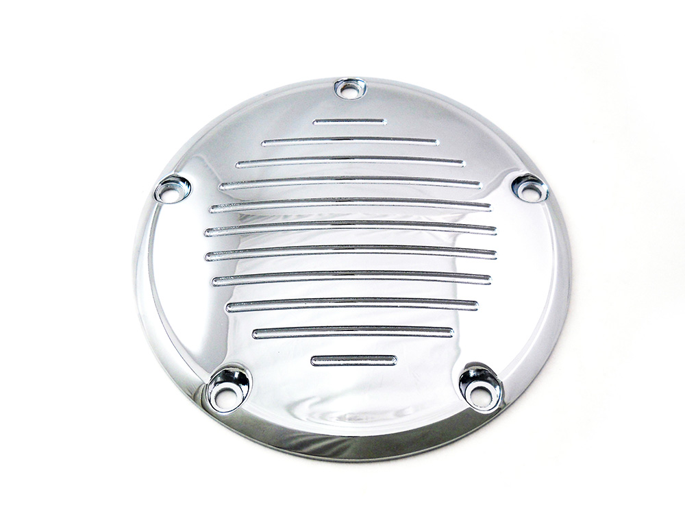 Chrome Grooved 5-Hole Derby Cover