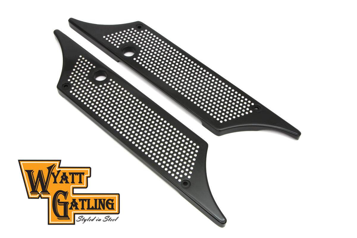VTwin Perforated Winged Saddlebag Hinge Covers 1993-2013 Harley Touring FLT