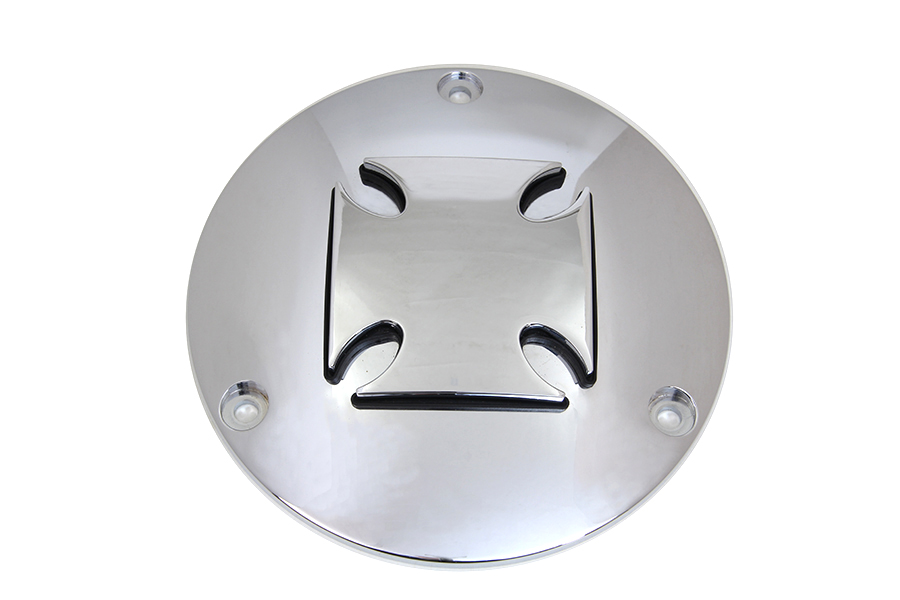 Iron Cross Raised Primary Derby Cover Chrome Billet