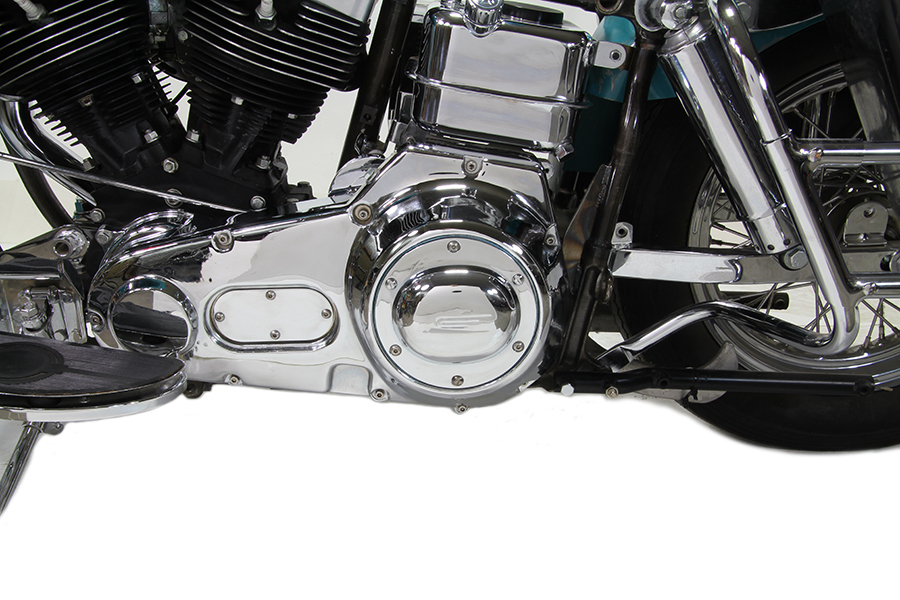 VTwin Early Bird Chrome Motorcycle Derby Cover 1970-1998 Harley Touring FXR FXST