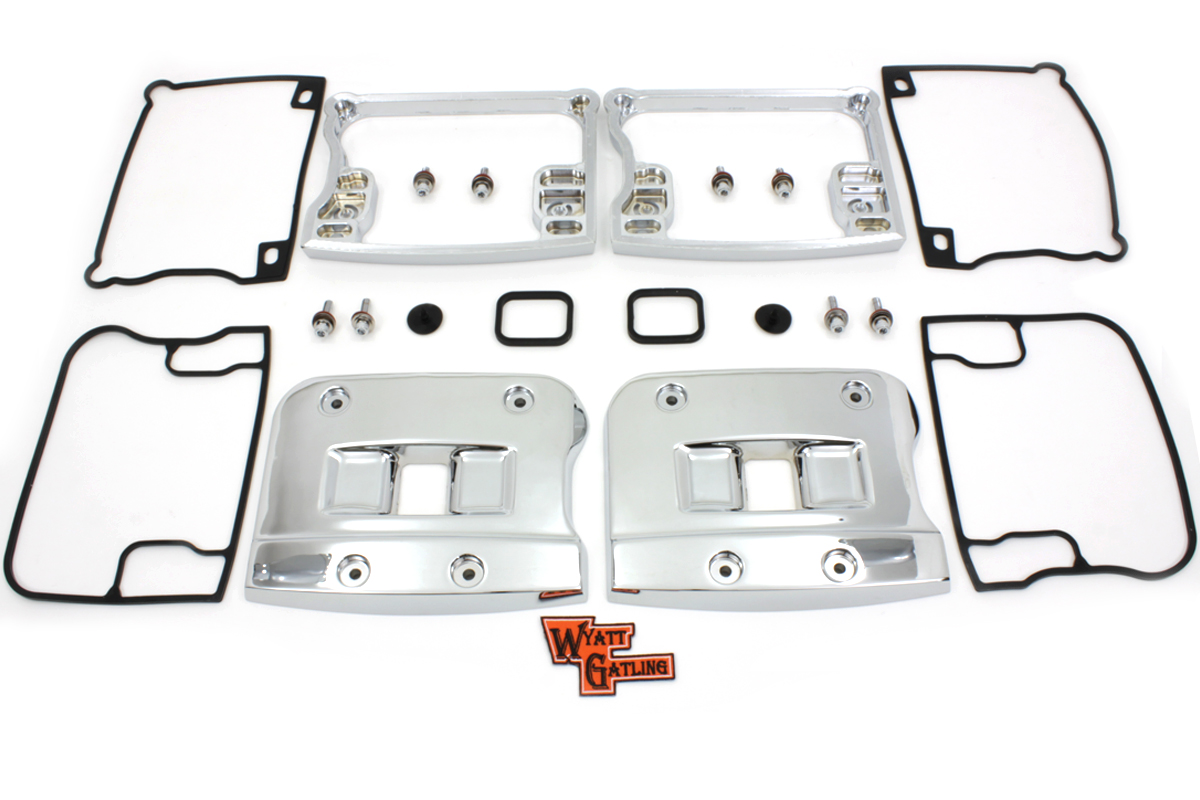 Wyatt Gatling Top Rocker Box Cover and D-Ring Set Chrome