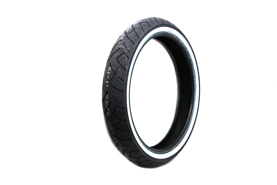 "*UPDATE Shinko SR777 120/70V x 21"" Whitewall Front Tire"