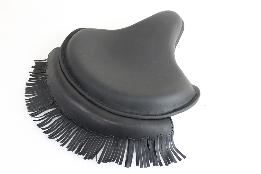 Black Leather Solo Seat With Fringe Skirt