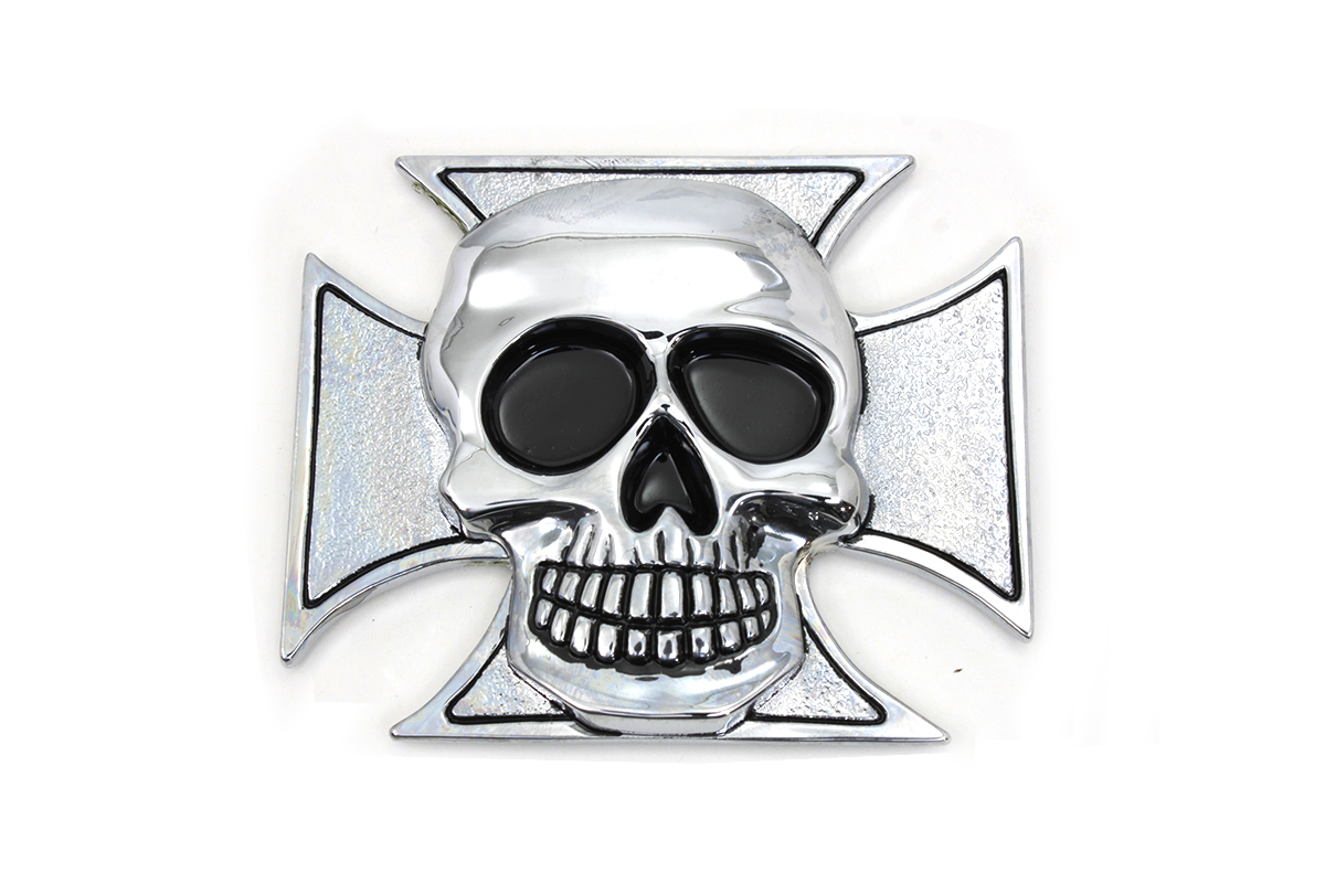 Pewter Maltese Cross with Skull Emblem