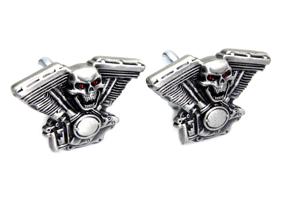 Skull on Panhead Engine License Plate Topper Set