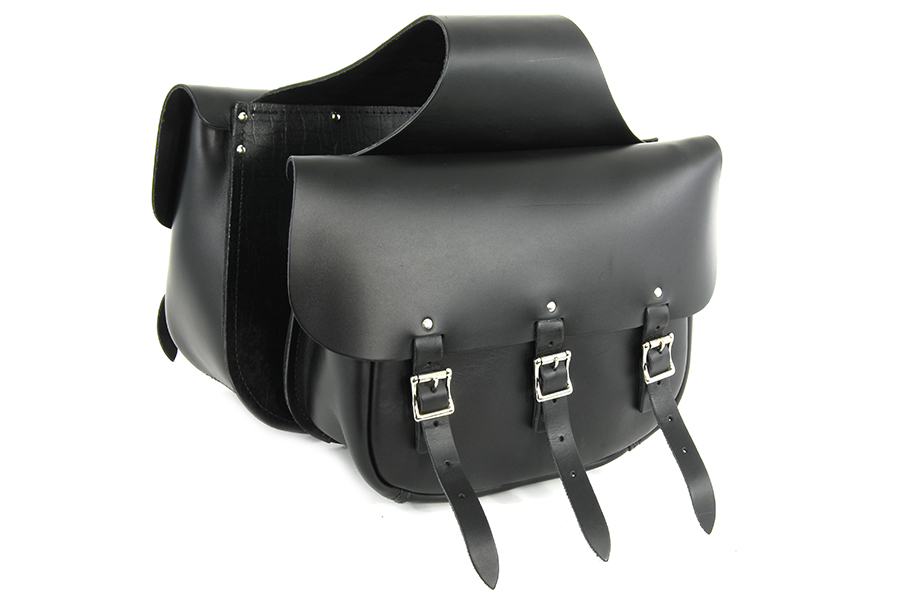 Black Leather Three Buckle Saddlebag Set