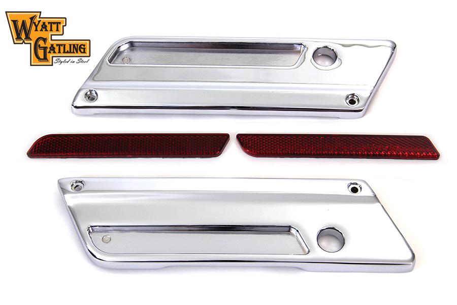 VTwin Chrome Saddlebag Hinge Cover & Reflector Set 1993-2013 Harley Touring FLT