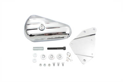 Chrome Left Side Oval Tool Box and Mount Kit