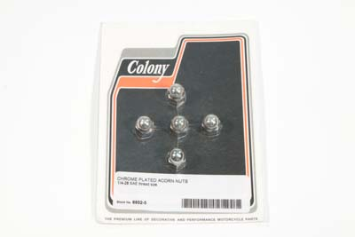 "Chrome Acorn Nut Fine 1/4""-28 Thread"