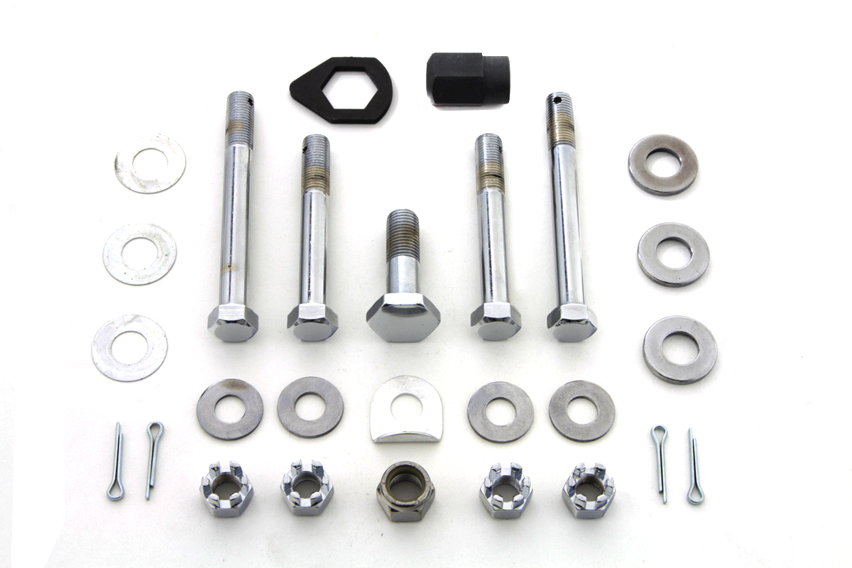 Chrome Upper and Lower Motor Mount Bolt Kit